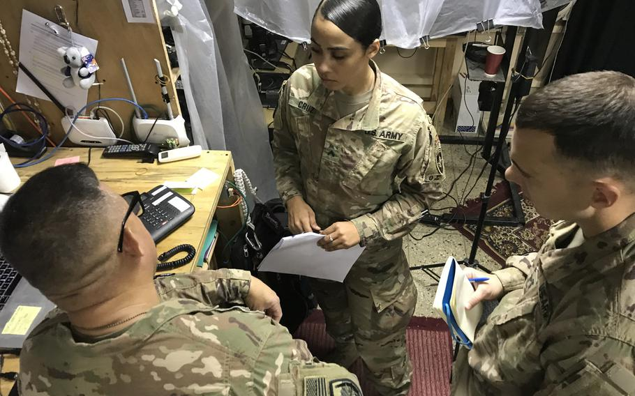 Cpl. Ruby Cruz, 24, center, deployed to Afghanistan shortly after working on Hurricane Maria recovery efforts after the storm devastated her home last fall. Cruz is a member of the Puerto Rico Army National Guard's 191st Regional Support Group Forward in Kabul.