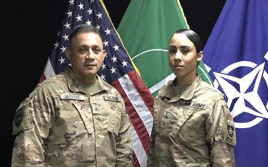 Sgt. Carlos Serrano, 55, and Cpl. Ruby Cruz, 24, deployed to Afghanistan shortly after Hurricane Maria devastated the Puerto Rico  last fall. Serrano and Cruz are members of the Puerto Rico Army National Guard's 191st Regional Support Group Forward in Kabul.