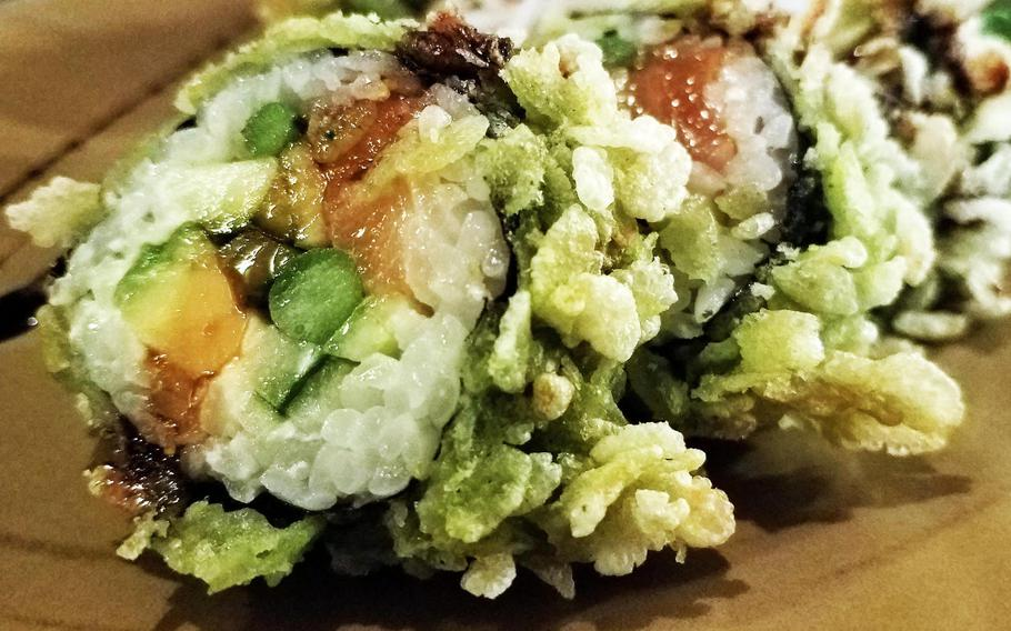 """""""The Big Hot Sake Crunchy"""" sushi at Dragonbirds Sushi in Regensburg, Germany, is one of the few items on the restaurant's menu that's in English.It looks like it sounds."""
