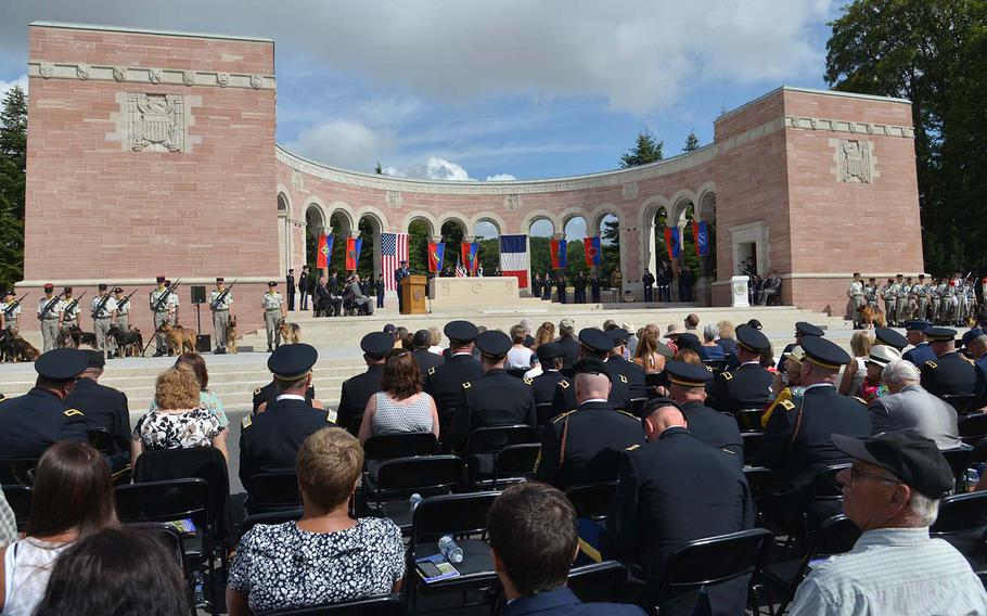 French and Americans gathered at the Oise-Aisne American Cemetery at Seringes-et-Nesles, France, Saturday, July 28, 2018, to mark the centennial of the Oise-Aisne Offensive.