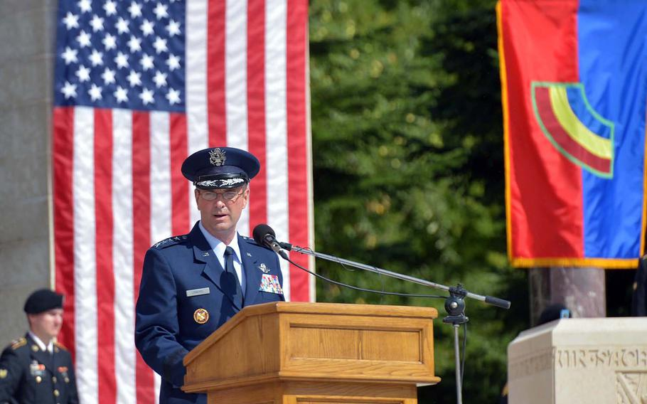 Gen. Joseph L. Lengyel, chief of the National Guard Bureau, speaks at the ceremony marking the centennial of the Oise-Aisne Offensive at Oise-Aisne American Cemetery at Seringes-et-Nesles, France, Saturday, July 28, 2018.