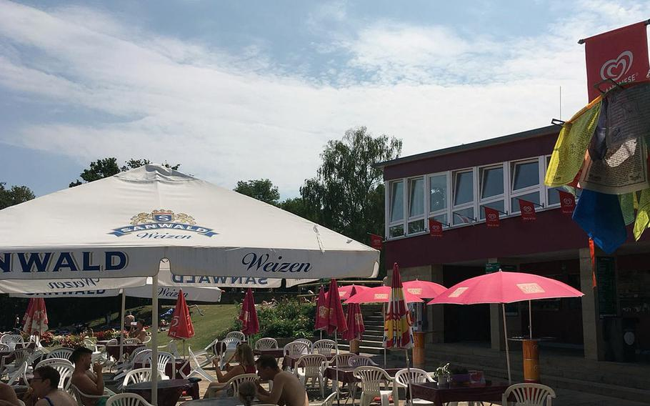 The snack bar at Hoehenfreibad in Stuttgart, Germany, offers meals like brats, burgers and pizza. And, of course, beer is on the menu.
