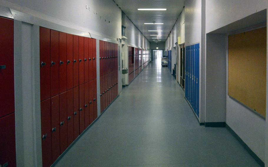A hallway in the old Kaiserslautern High School. For the first time in more than 65 years, high school students won't be walking past the red and blue lockers, as a new school is set to open at the beginning of the school year.