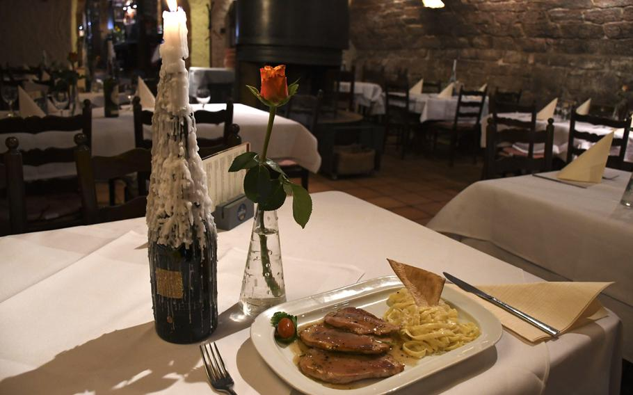 Saltimbocca alla Romana -- veal lined with proscuitto -- is the favorite dish of the chef at Ristorante Cardinale in Kaiserslautern, Germany.