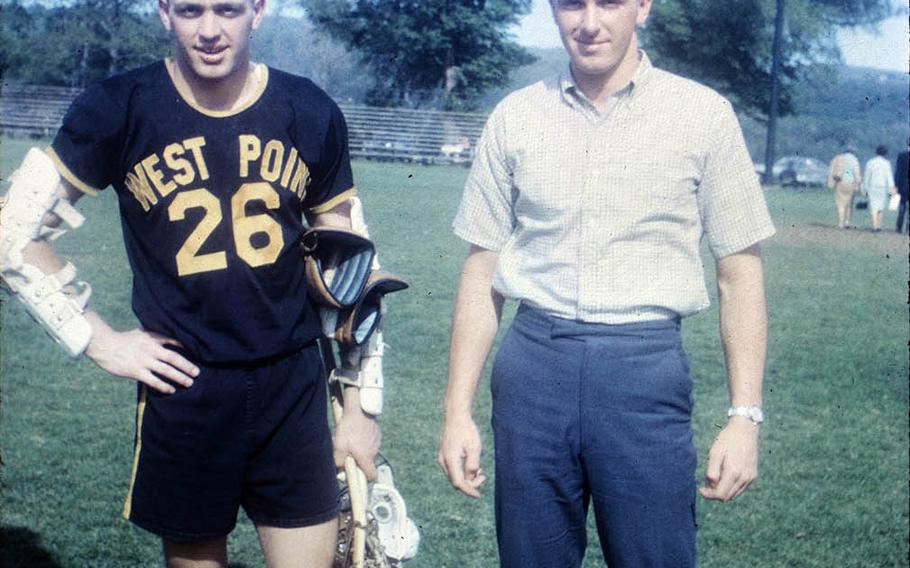 Brothers Raymond Enners, left, and Richard Enners on the West Point lacrosse field in spring 1967