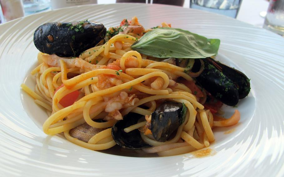 Linguine with seafood, a staple of Mediterranean cooking and served at most restaurants in Sirmione, Italy, is especially good at Arcimboldo.