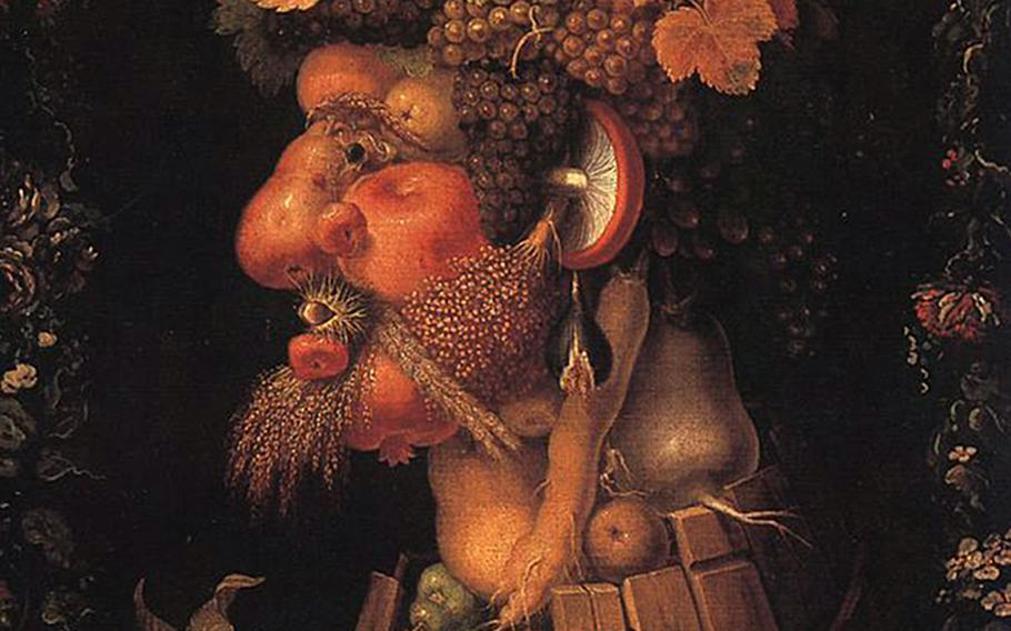 The restaurant Arcimboldo in the center of Sirmione, Italy, takes its name from Italian Renaissance artist Giuseppe Archimboldo. His fanciful paintings of heads, often of royalty, used fruits, vegetables, fish and other material. This is his work ''Autumn.''