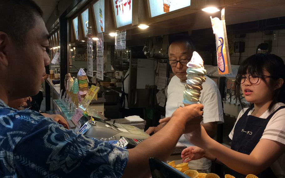 Tokyo's Daily Chico is famous for its towering cone featuring eight different flavors of soft serve ice cream.
