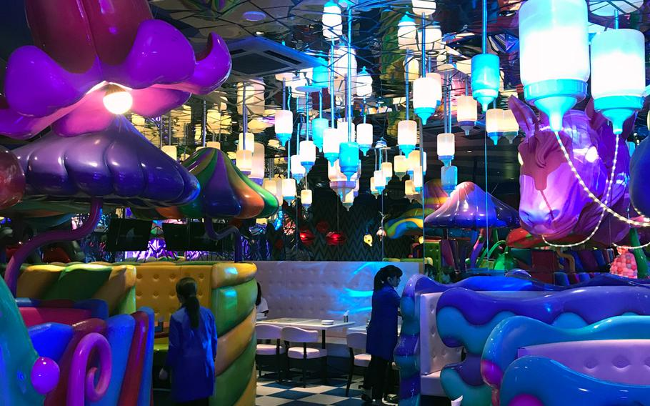 Uopn entering Kawaii Monster Cafe, customers are transported into a psychedelic wonderland.
