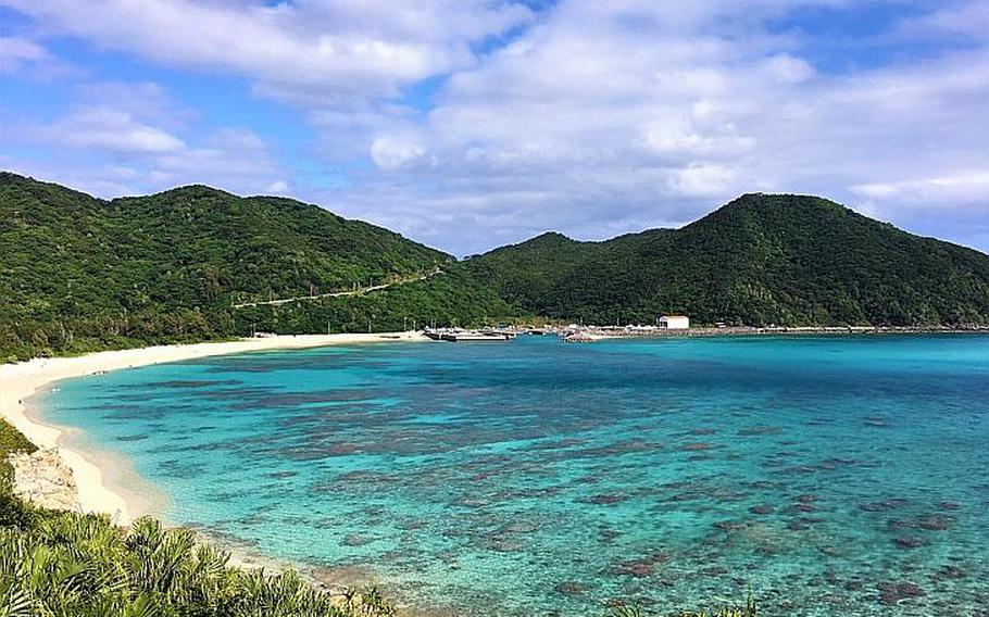 Aharen Beach, located about 10 minutes from Tokashiku Beach on the southwest side of the island, offers a bit more amenities for tourists.