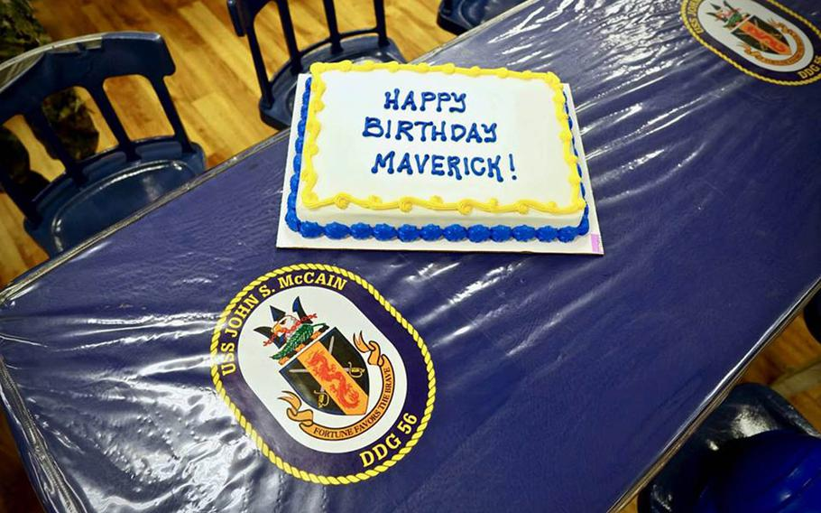 The crew of the guided-missile destroyer USS John S. McCain celebrated what would have been the 82nd birthday of Sen. John McCain, Wednesday, Aug. 29, 2018, at Yokosuka Naval Base, Japan.