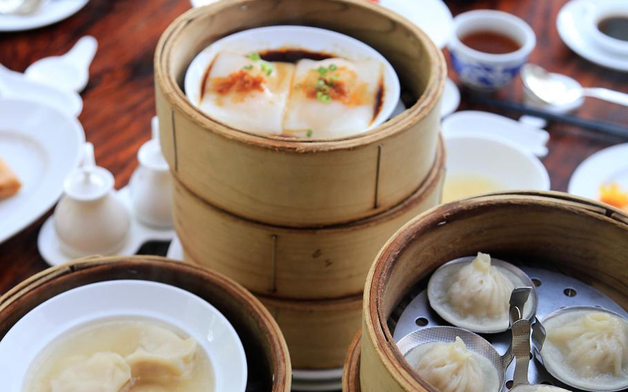 """Some of the traditional dim sum offerings at Makan Makan in Okinawa include shrimp cheong fun, a type of rice noodle crepe, and xiaolongbao, better known as """"soup dumplings."""""""