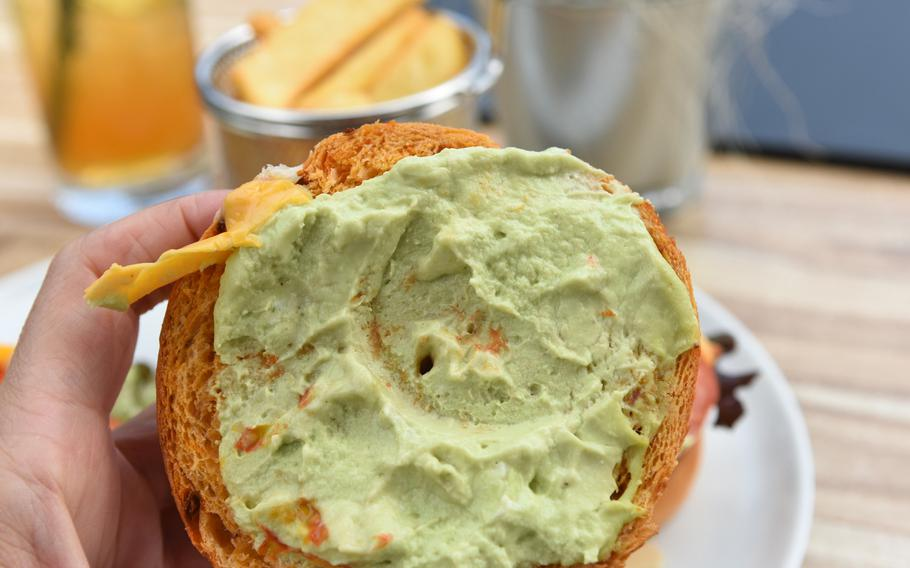 The veggie burger bun at Bistro Stellwerk in Weilerbach, Germany, is slathered with avocado cream, a nice alternative to mayonnaise or ketchup.