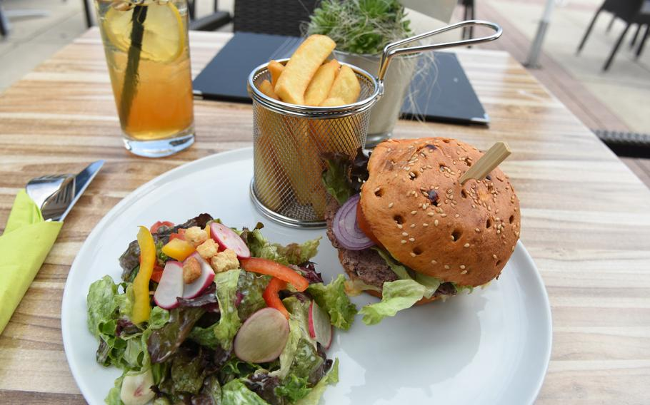 The veggie burger at Bistro Stellwerk in Weilerbach, Germany, came with a side salad and French fries, all for 8,50 euros (or about $10).