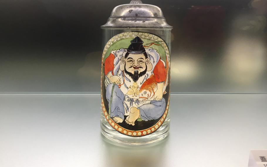 An original stein from the Yebisu Beer Hall, a precursor to the modern izakaya which opened in Ginza in 1899, is among the many items on display at the Museum of Yebisu Beer.