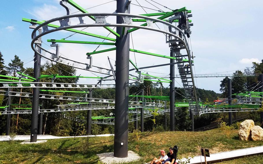 Alpine coasters and other rides draw visitors to the E-Fun Park Pottenstein, in Pottenstein, Germany.