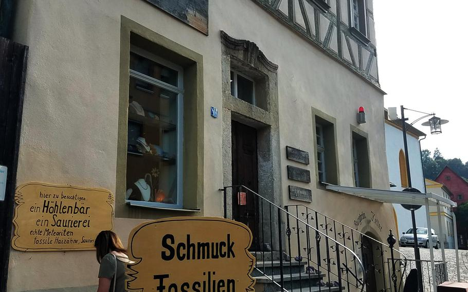 Fossils of all kinds can be found in Pottenstein, Germany. Here's a shop selling fossils together with minerals and jewelry.