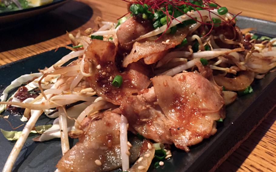 The pork and bean sprout chan-chan yaki at Okinawa City's Akai Helmet izakaya was another sweet and tangy standout from the menu.