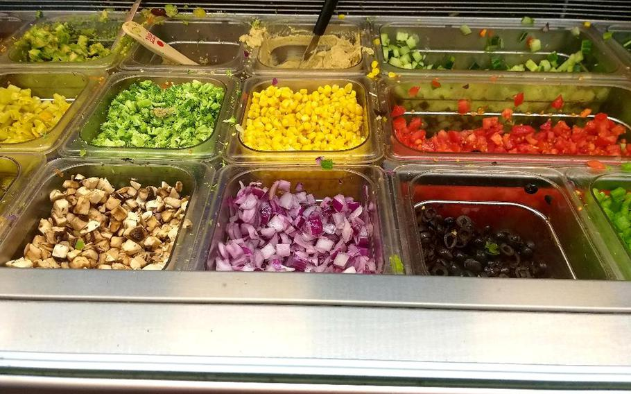 Bun-D, located in the Kaiserslautern Military Community Center on Ramstein Air Base, Germany, offers a diverse collection of health-conscious toppings for its rice bowls, pitas and other menu items.