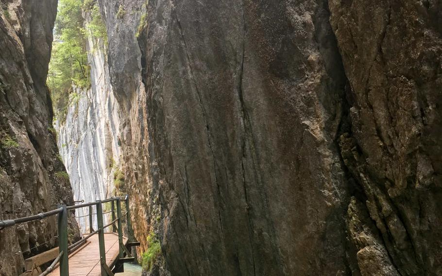 The trails near Leutasch Gorge near the town of Mittenwald include a walkway that leads to a waterfall.