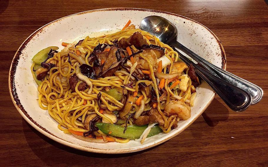 The lo mein noodles served by P.F. Chang's at Ramstein Air Base, Germany, are amazing, with fresh veggies cooked with care.