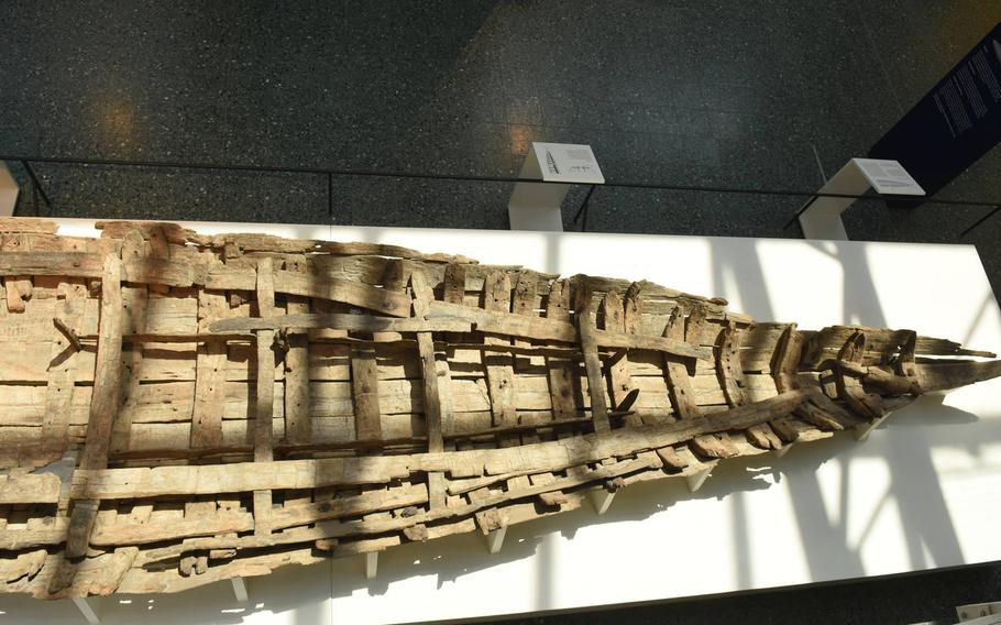 The original hull of one of several late Roman patrol vessels dug up in Mainz, Germany, is on display in the city's Museum of Ancient Seafaring.