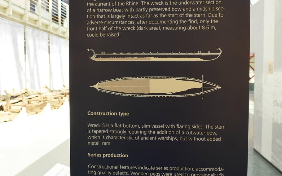 Some of the exhibits at the Museum of Ancient Seafaring in Mainz, Germany, are in English, including this one, which details the construction of one of the late Roman patrol vessels found near the banks of the Rhine River more than 30 years ago.