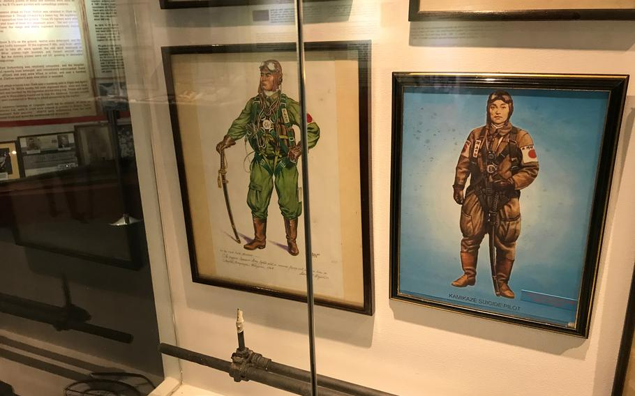 Photographs and illustrations of Japanese kamikaze pilots who flew from the Philippines during the war are among the museum's ephemera from WWII.