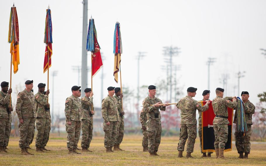 U.S. soldiers take part in a transfer of authority ceremony at Camp Humphreys, South Korea, on Oct. 22, 2018. According to reports on Jan. 12, 2019, U.S. negotiators are asking Seoul to pay roughly 50 percent more towards the cost of hosting U.S. troops on the Korean peninsula.