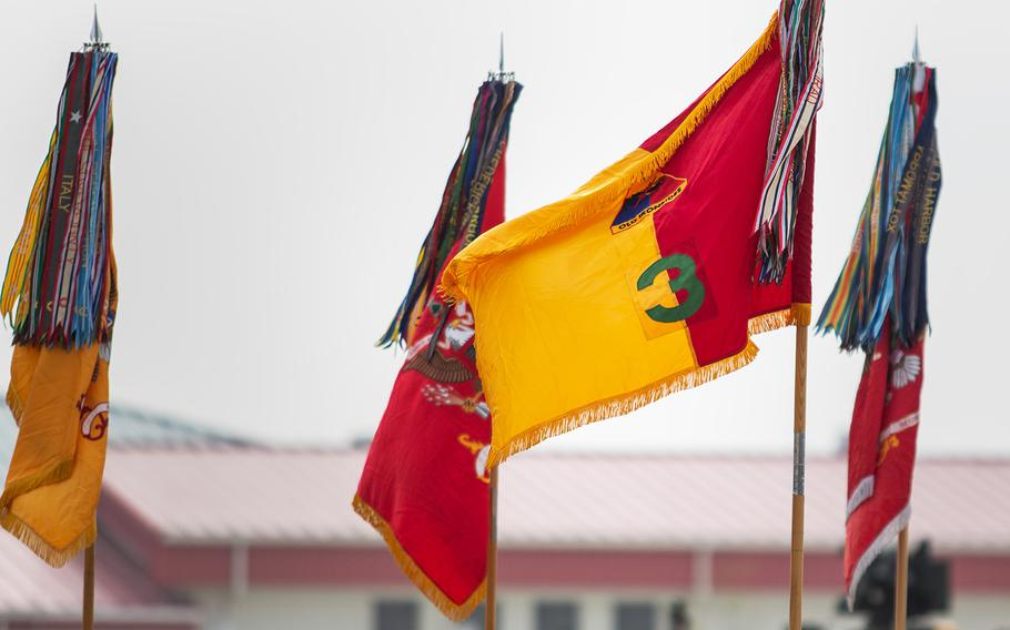 3rd Armored Brigade, 1st Armored Division colors are displayed during a transfer of authority ceremony at Camp Humphreys, South Korea, Monday, Oct. 22, 2018.