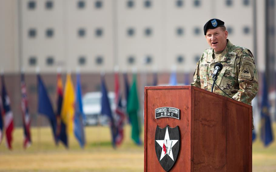 3rd Armored Brigade Combat Team, 1st Armored Division commander Col. Marc Cloutier speaks during a transfer of authority ceremony at Camp Humphreys, South Korea, Monday, Oct. 22, 2018.