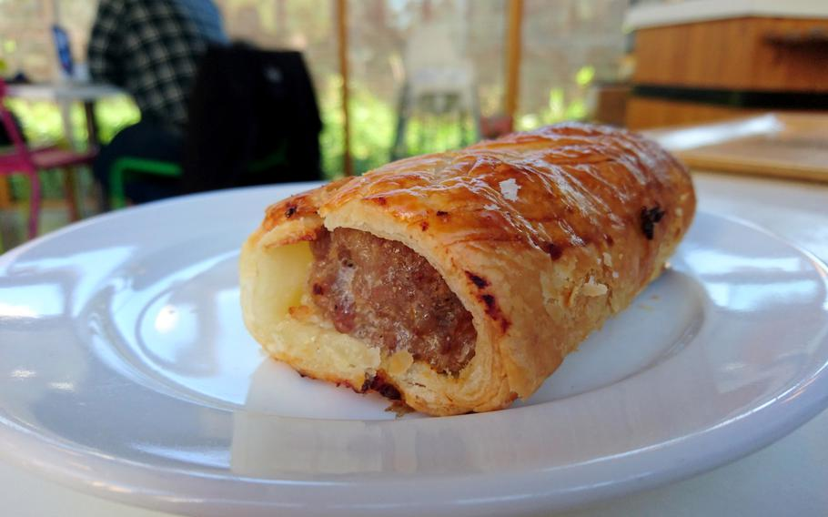A sausage roll from the Adnams Southwold Store and Cafe in Southwold, England, Saturday, October 20, 2018.