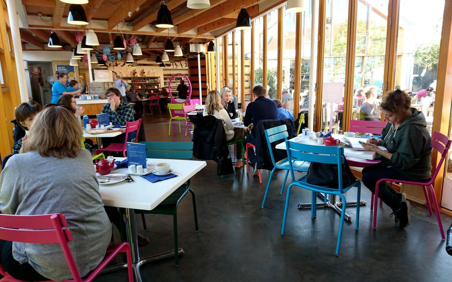 Indoor seating available at the Adnams Southwold Store and Cafe in Southwold, England, Saturday, October 20, 2018.