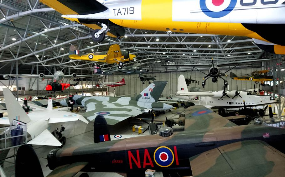 Inside the AirSpace exhibit at the Imperial War Museum Duxford, England, on Oct. 30. Visitors can explore around and underneath famous aircraft like the Lancaster, Spitfire, Concorde and Vulcan.