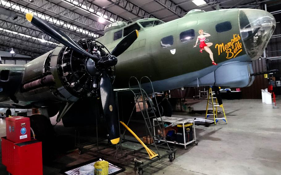 """A rebuilt Boeing B-17G Flying Fortress at the Imperial War Museum Duxford, England, Tuesday, Oct. 30, 2018. Nicknamed """"Sally B,"""" it's the only airworthy B-17 in Europe and was used in the 1990 film Memphis Belle."""