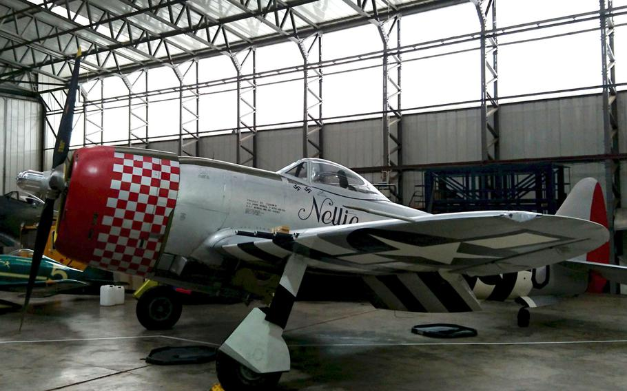 A Republic P-47 Thunderbolt at the Imperial War Museum Duxford, England, on Oct. 30. This Thunderbolt was flown by the 48th Fighter Wing in World War II and is painted in 492nd's scheme from that period.