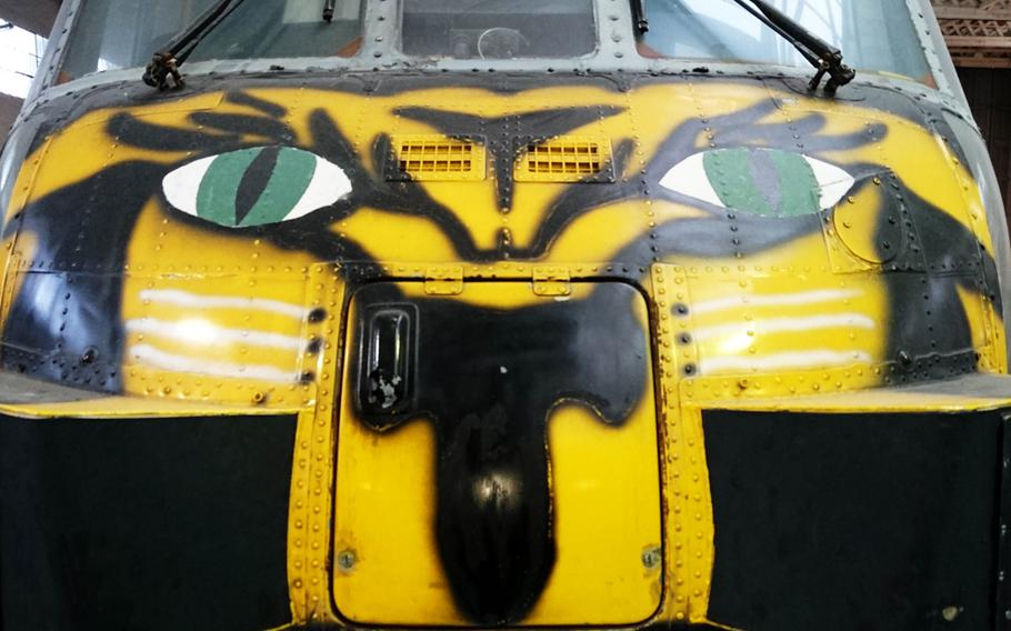 The painted front of a Westland WS-61 Sea King at the Imperial War Museum Duxford, England, on Oct. 30. The Sea King was primarily designed for performing anti-submarine warfare missions.