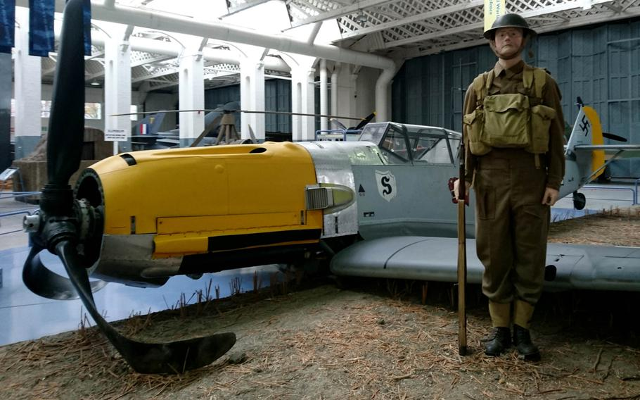 A Messerschmitt Bf 109 plane inside the Battle of Britain exhibit at the Imperial War Museum Duxford, England, on Oct. 30. The German World War II fighter aircraft crash-landed in England on Sept. 30, 1940, and the pilot Horst Perez was captured.