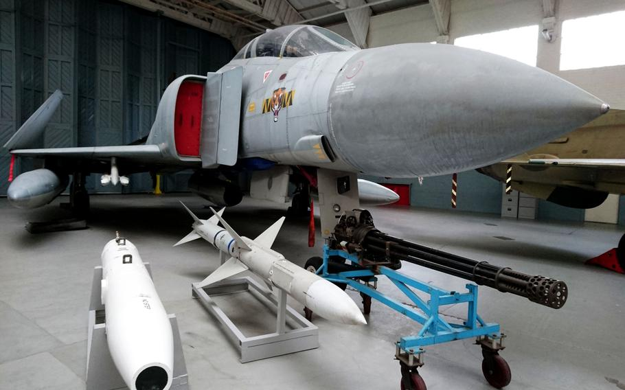 A McDonnell Douglas F-4 Phantom II flown by Royal Air Force 74 Squadron on display at the Imperial War Museum Duxford, England, on Oct. 30. The Phantom is a large fighter with a top speed of over Mach 2.2 that can carry more than 18,000 pounds of weapons.