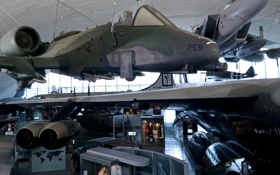 Inside the American Air Museum at the Imperial War Museum Duxford, England, on Oct. 30. The museum tells the stories of U.S. servicemembers who served their country in the U.K., from World War II to modern day.