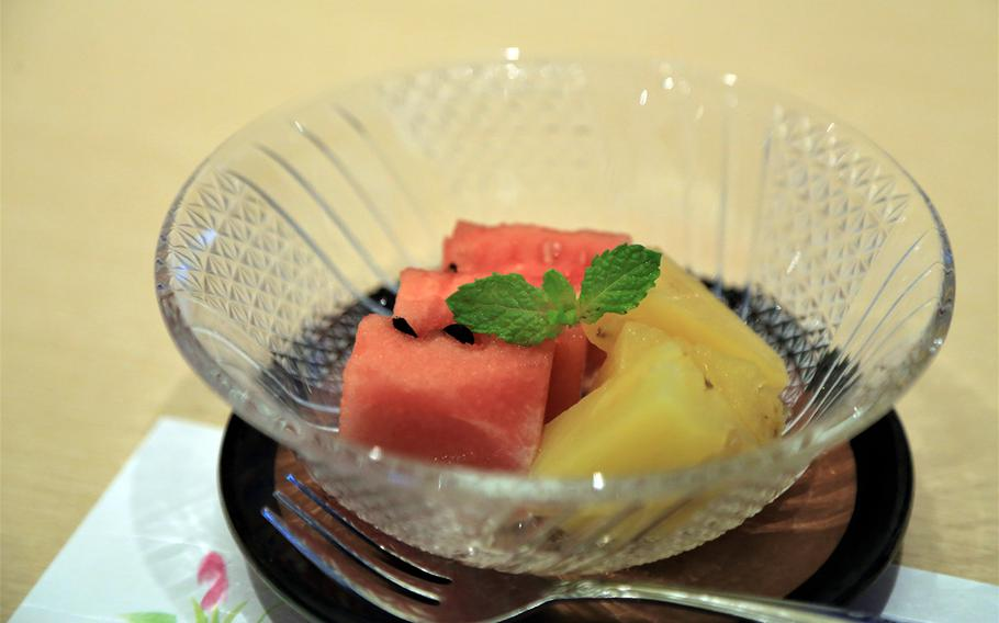 For dessert, diners at Waryu Sushi Shuna can ingulge in locally grown pineapple and watermelon.