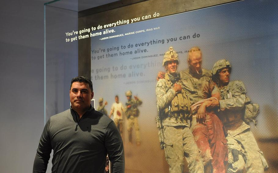 Jason Dominguez, a former Marine Corps sergeant, is featured in multiple exhibits at the National Veterans Memorial and Museum, which opened Oct. 27 in Columbus, Ohio. Dominguez served as an infantry squad leader in Iraq in 2005.