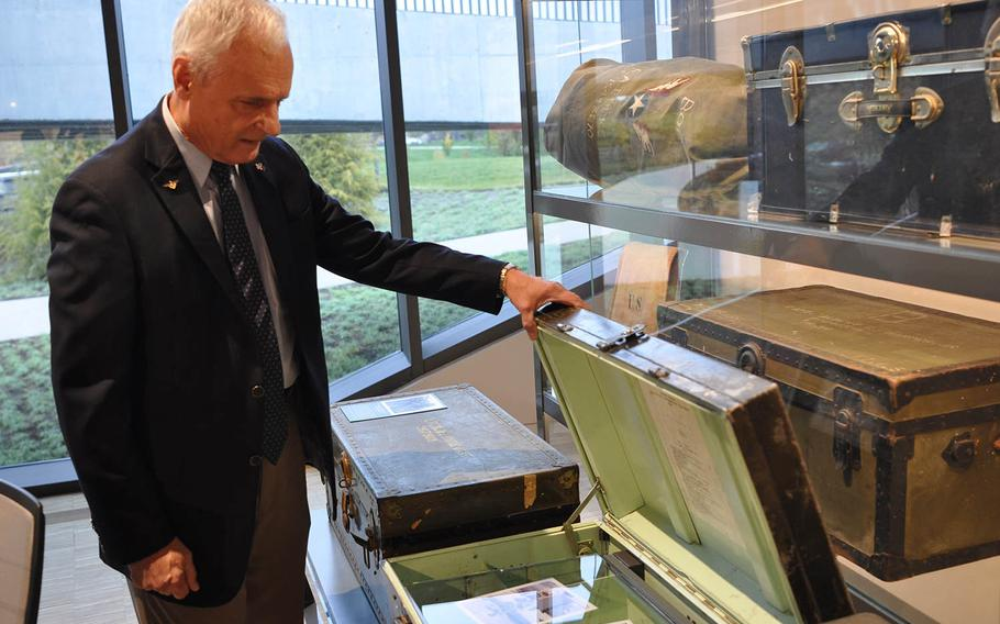 Retired Air Force Col. Thomas Moe, a fighter pilot in the Vietnam War, opens a trunk at the National Veterans Memorial and Museum containing photos of him and his wife, Christine. When opened, the exhibit plays recordings of the couple reflecting on the moment he left for Vietnam. Moe was captured and kept as a prisoner of war for five years.