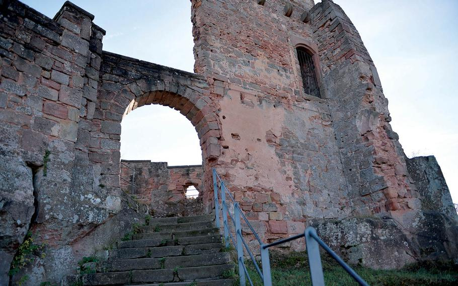 Crumbling walls are all that remain in parts of Nanstein Castle, in other parts of the castle, large underground rooms built out of hand hewn stone still stand. The castle, which is located in Landstuhl, Germany was bombarded at least twice with siege cannons.