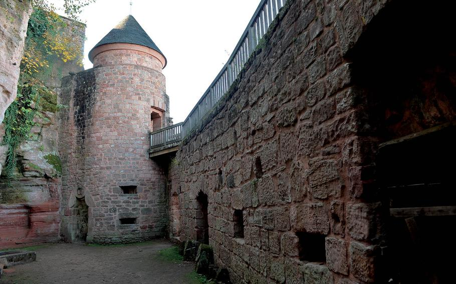 Inside the walls of Nanstein Castle in Landstuhl, Germany. The castle was where Franz von Sickingen, leader of the Knight's Revolt, died after surrendering to forces sieging the fortress.