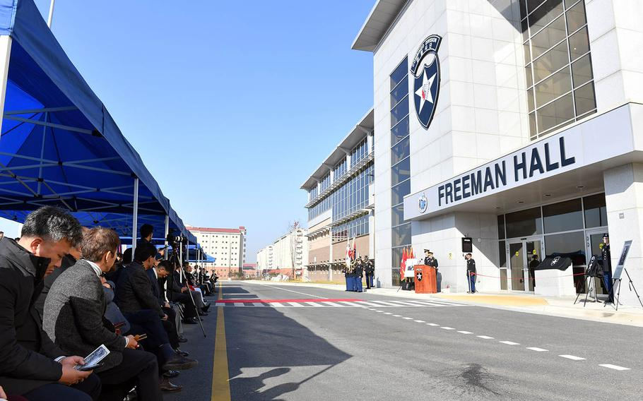 The 2nd Infantry Division dedicates its new headquarters building at Camp Humphreys, South Korea, Tuesday, Nov. 20, 2018.