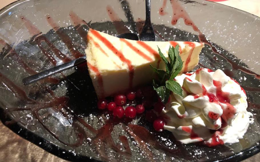 A cheesecake dessert known as the Traumhafte Gisela is served at Sissi und Franz burger restaurant in Kaiserslautern, Germany. At under four euros, the item is one of the lower-priced dessert alternatives to the restaurant's signature shakes, which cost twice as much.