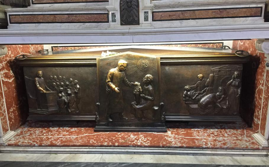 The altar for St. Guiseppe Moscati at the Church of Gesu Nuovo. Moscati was accomplished Neapolitan physician who treated the poor at no charge and was believed to continue healing the sick after he died in 1927. Pope John Paul canonized him in 1987.