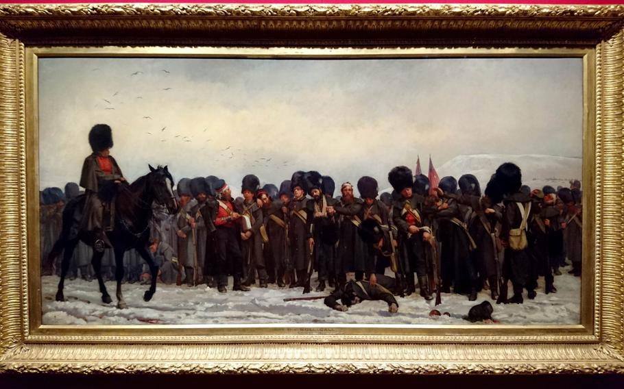A painting of a troops in the Crimean War in the Queen's Gallery at Buckingham Palace, London. Painted almost 20 years after the war, it conveys a roll call after the Battle of Inkerman.
