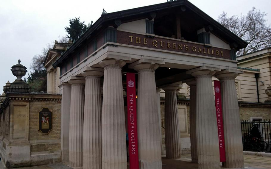 Entrance to the Queen's Gallery at Buckingham Palace, London. The gallery hosts rotating exhibitions of art and treasure from the Royal Collection held in trust by the Queen for the public.